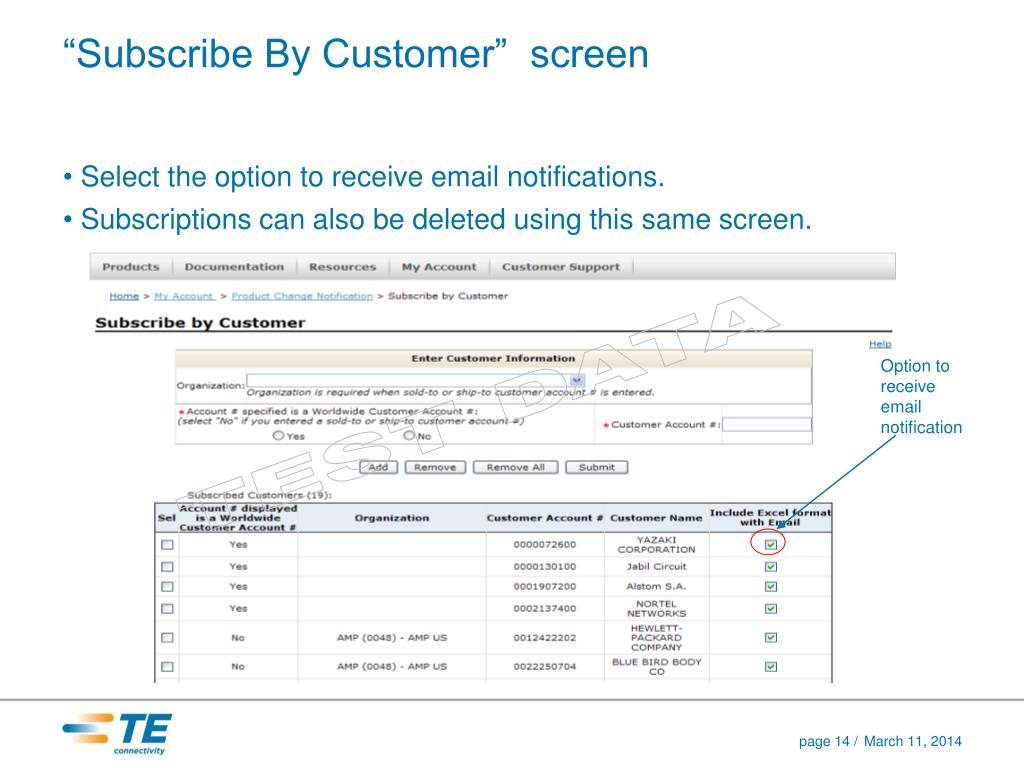 """""""Subscribe By Customer""""  screen"""