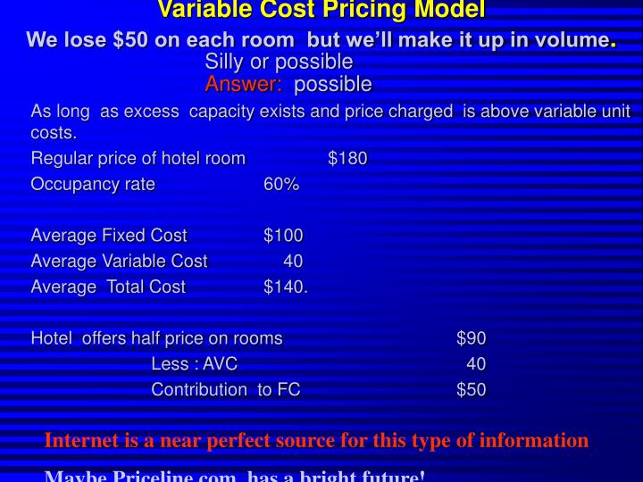 Variable Cost Pricing Model
