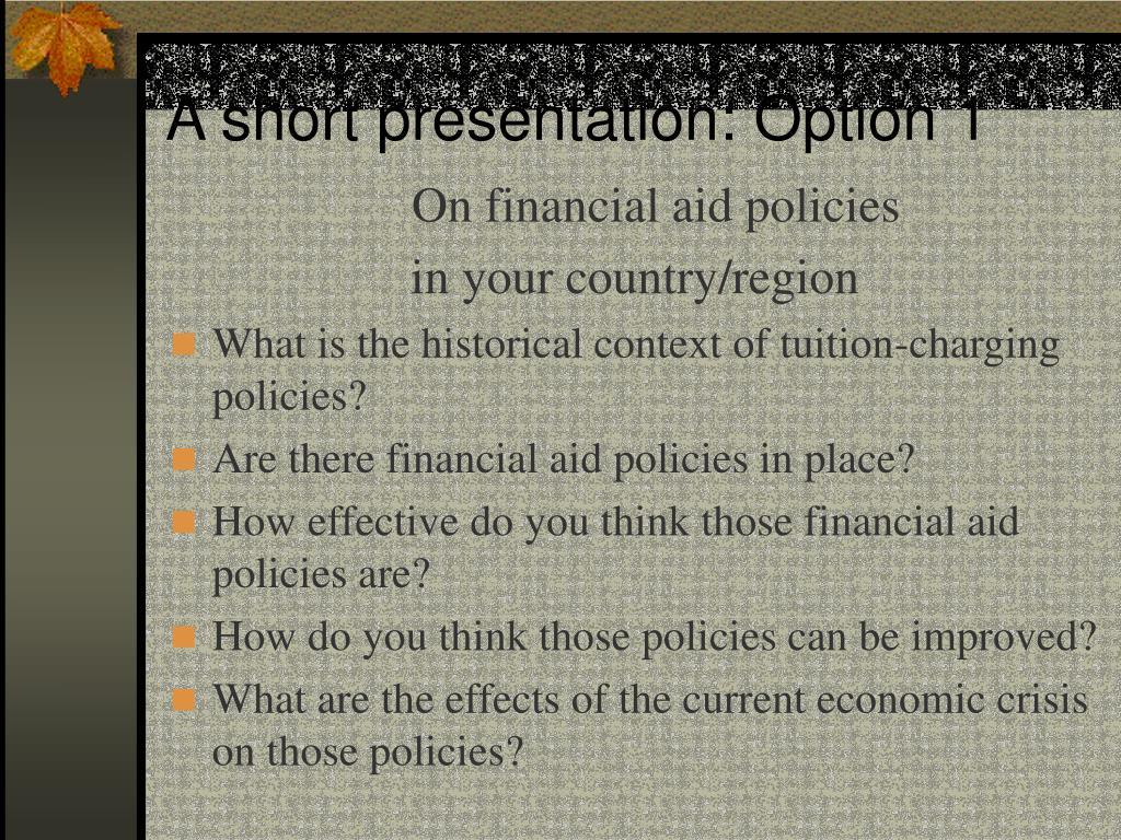A short presentation: Option 1