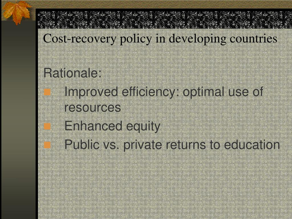 Cost-recovery policy in developing countries