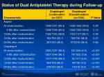 status of dual antiplatelet therapy during follow up