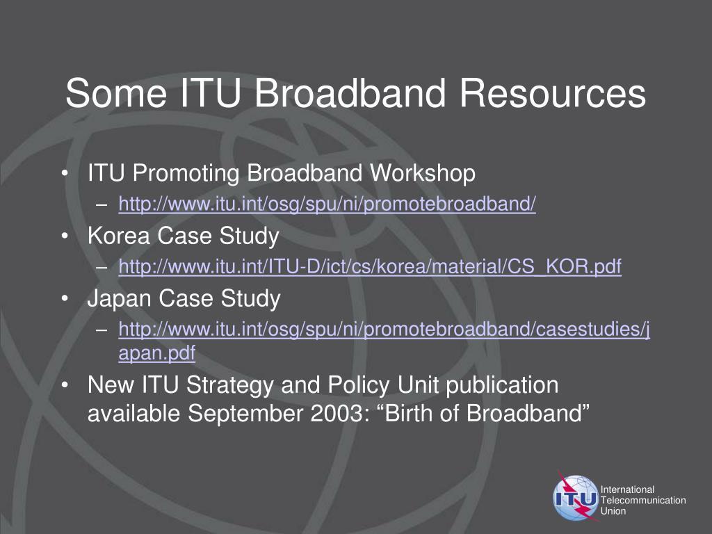 Some ITU Broadband Resources