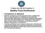 public act 06 63 section 3 healthy food certification