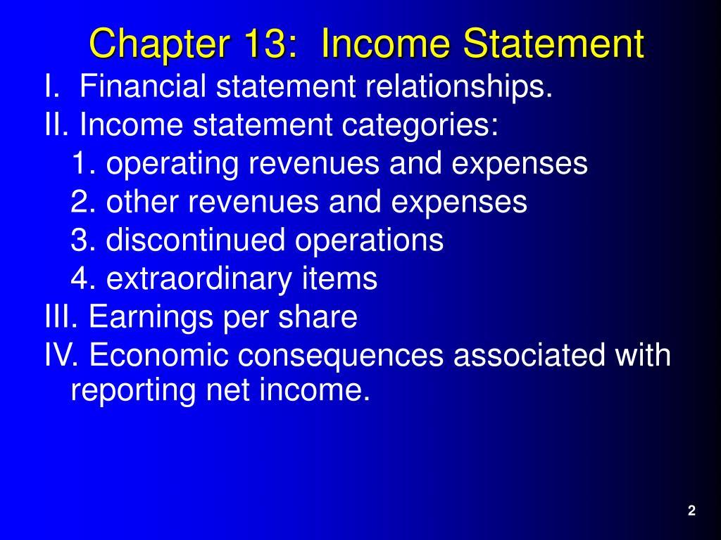 I.  Financial statement relationships.