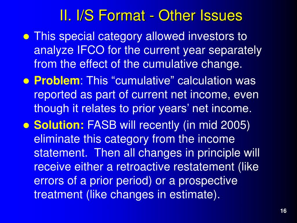 This special category allowed investors to analyze IFCO for the current year separately from the effect of the cumulative change.