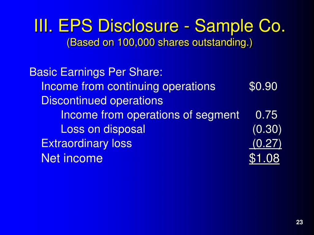 Basic Earnings Per Share: