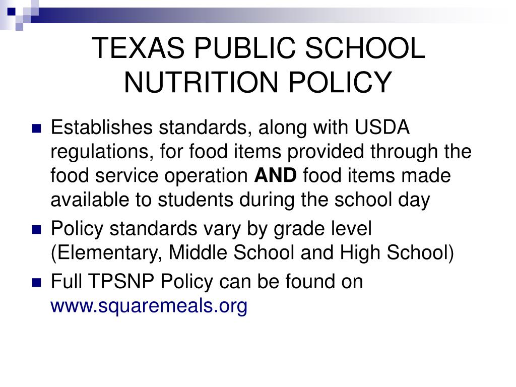 texas public school nutrition policy