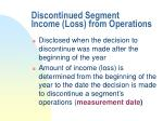 discontinued segment income loss from operations