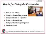 don ts for giving the presentation