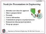 needs for presentations in engineering