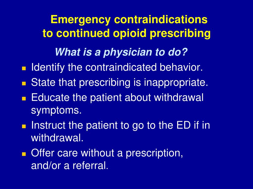 Emergency contraindications