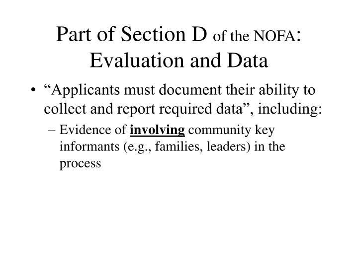 Part of section d of the nofa evaluation and data
