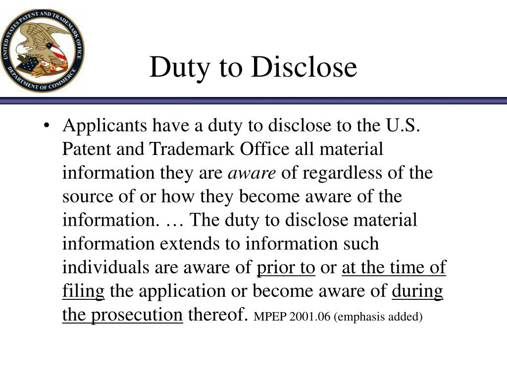 Duty to Disclose
