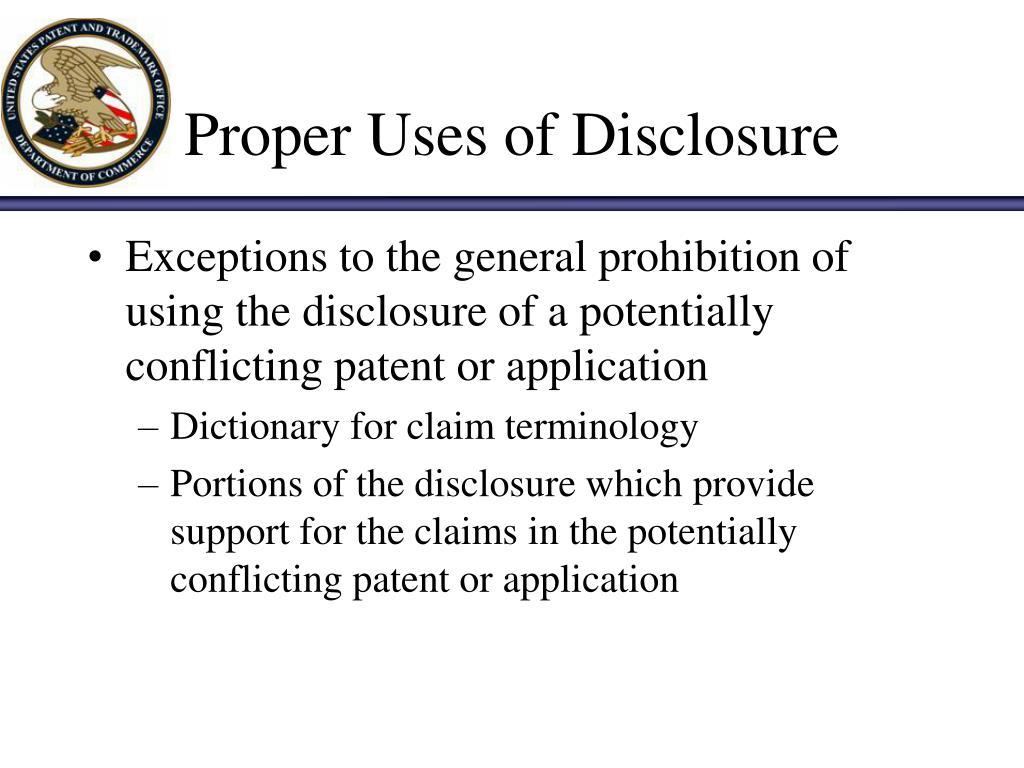 Proper Uses of Disclosure