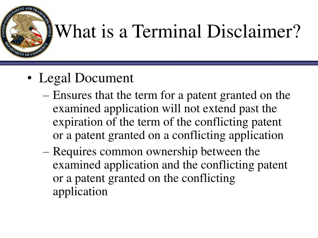 What is a Terminal Disclaimer?