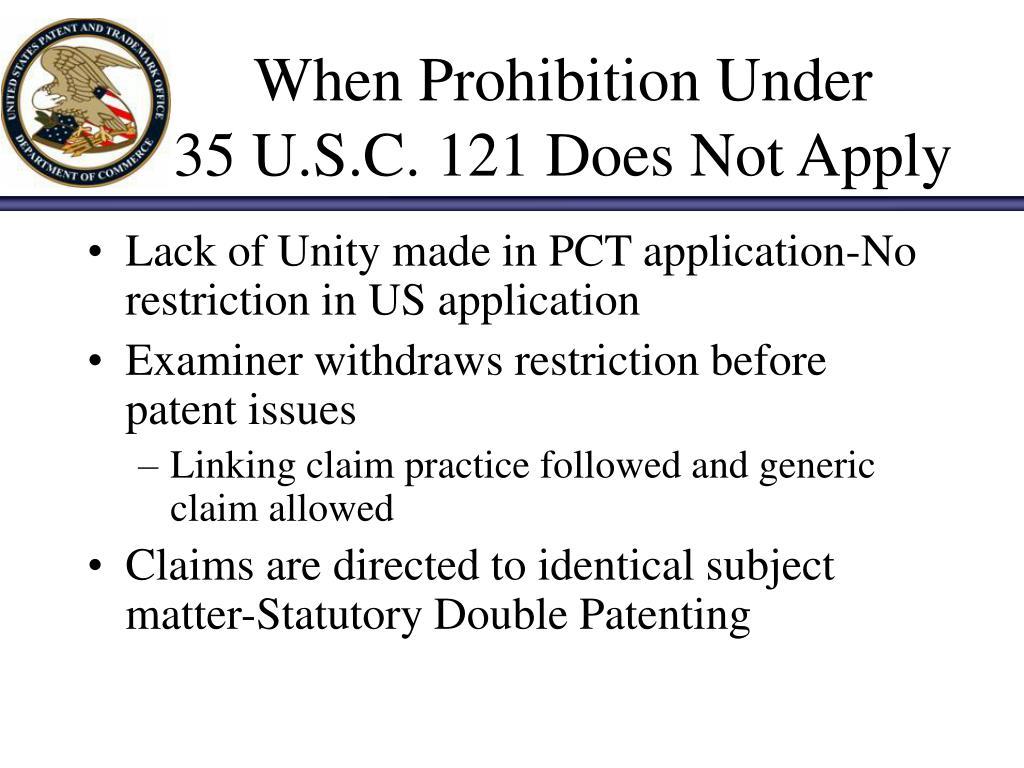 When Prohibition Under
