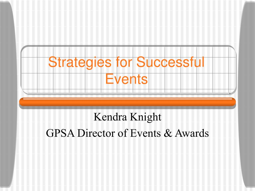 strategies for successful events l.