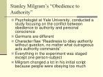 stanley milgram s obedience to authority