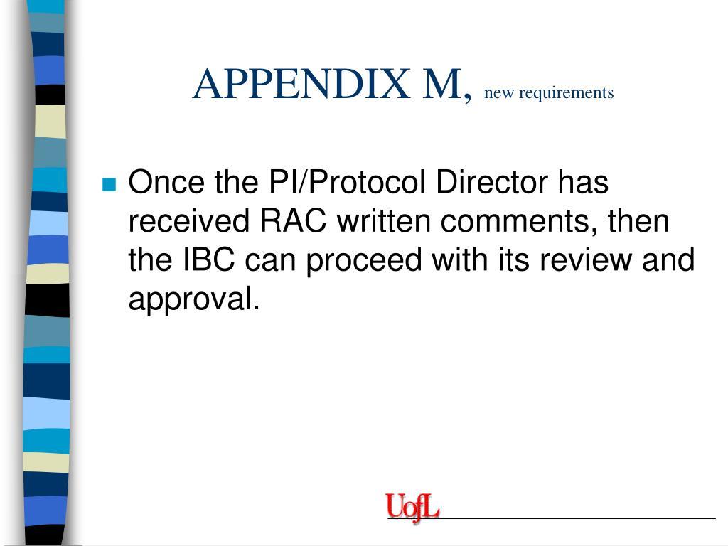 APPENDIX M,
