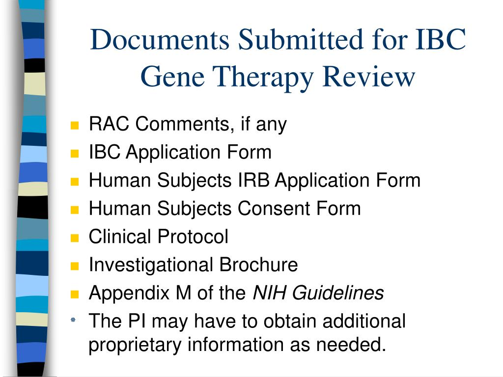 Documents Submitted for IBC Gene Therapy Review