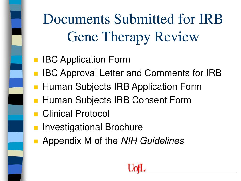 Documents Submitted for IRB Gene Therapy Review