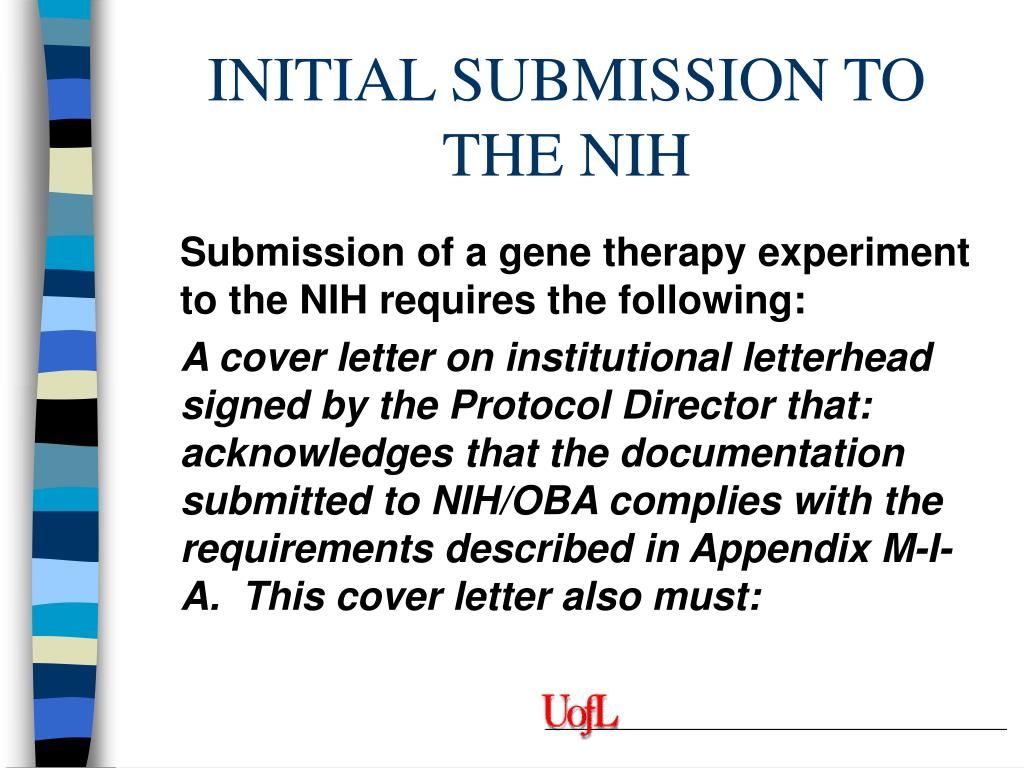 INITIAL SUBMISSION TO THE NIH