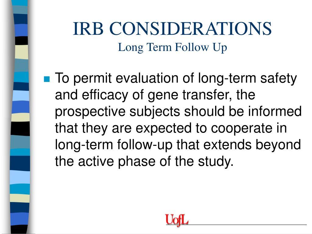 IRB CONSIDERATIONS