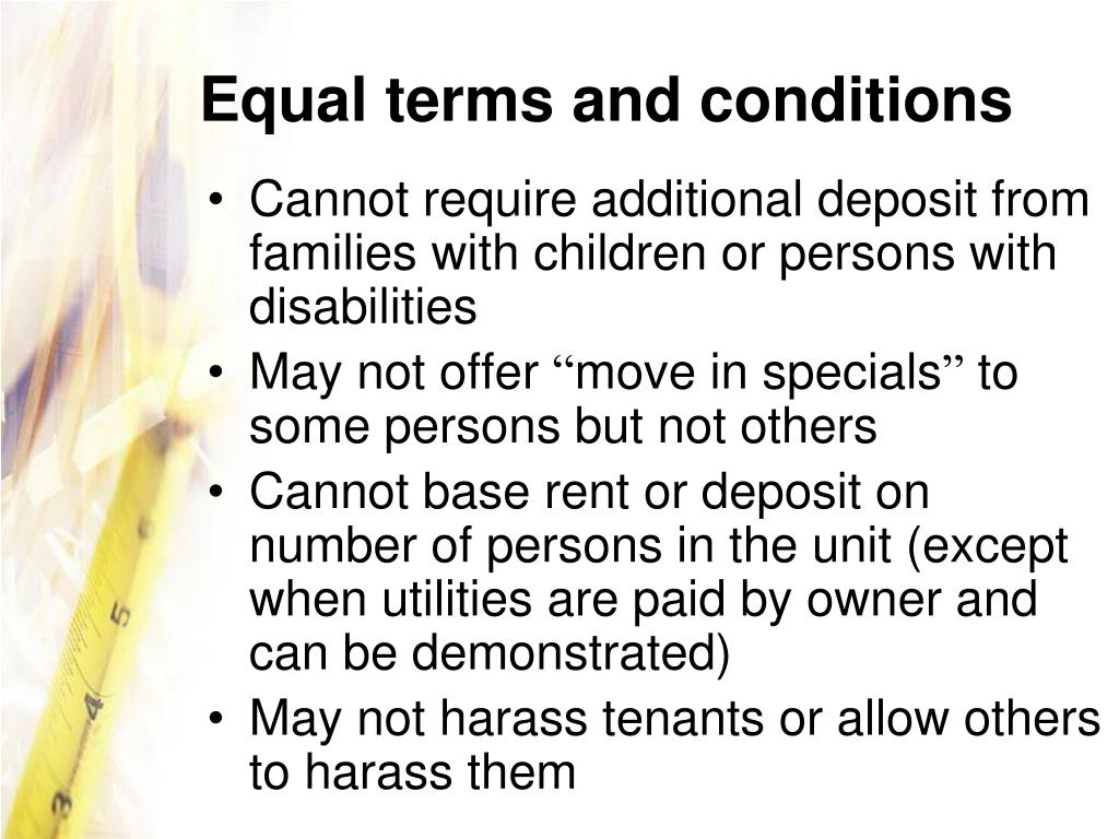 Equal terms and conditions