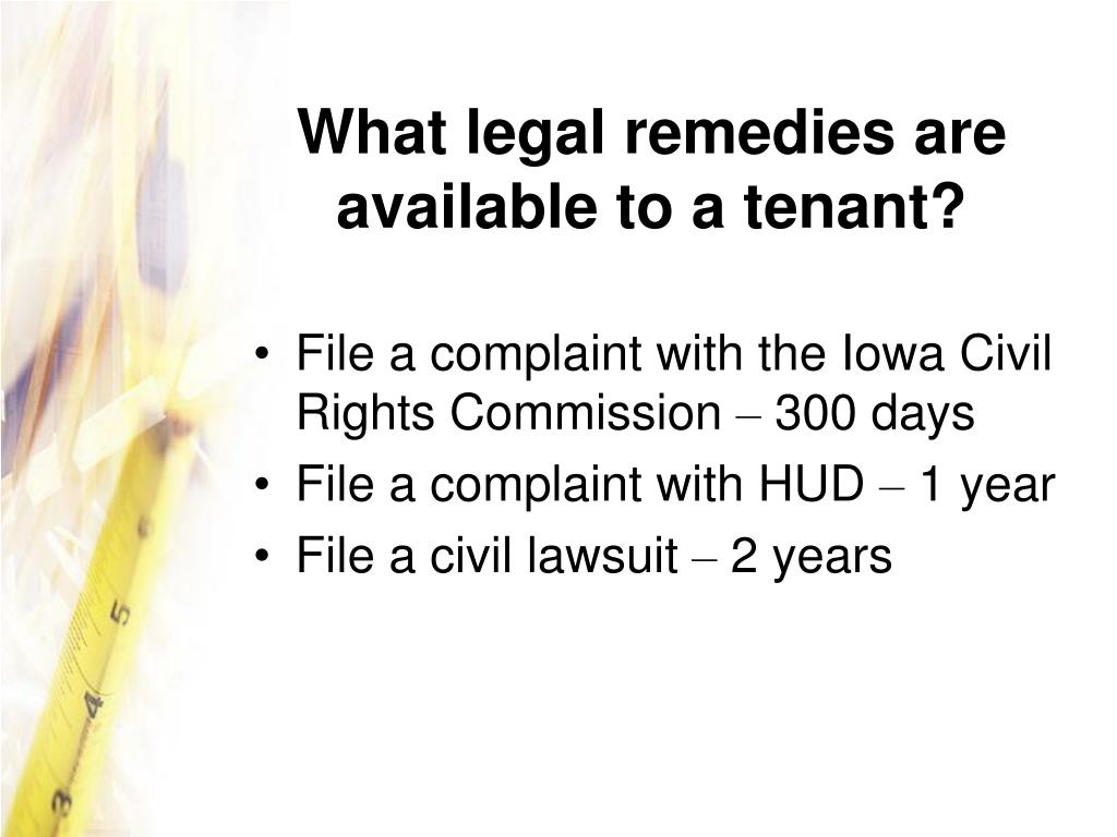 What legal remedies are available to a tenant?