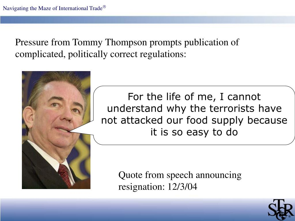 Pressure from Tommy Thompson prompts publication of complicated, politically correct regulations: