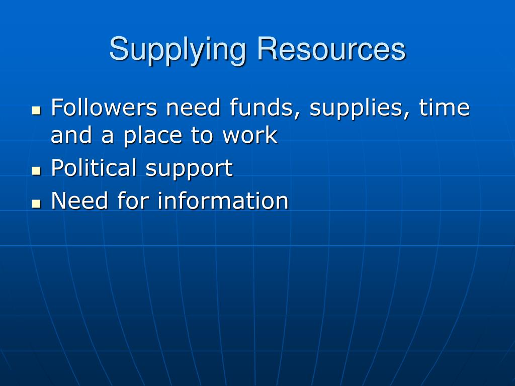 Supplying Resources