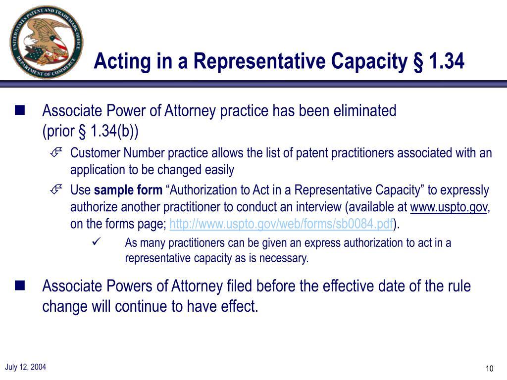 Acting in a Representative Capacity § 1.34