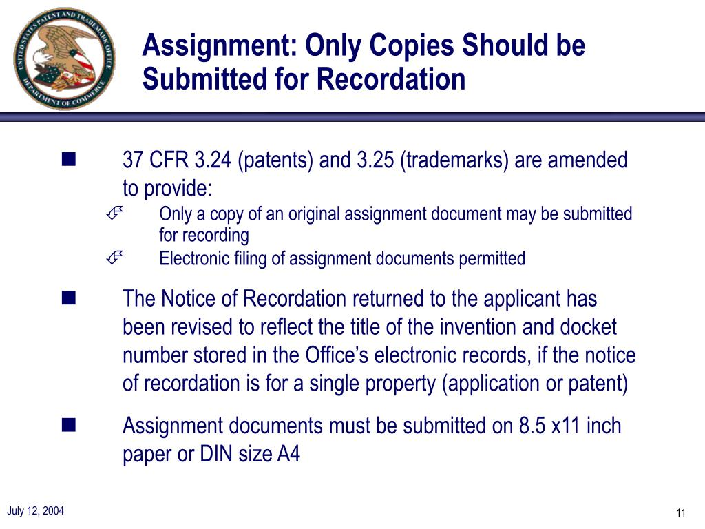 Assignment: Only Copies Should be Submitted for Recordation