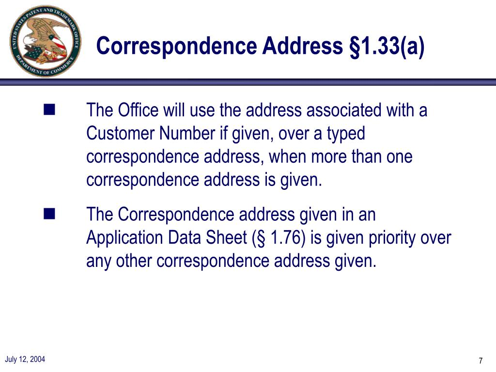 Correspondence Address §1.33(a)