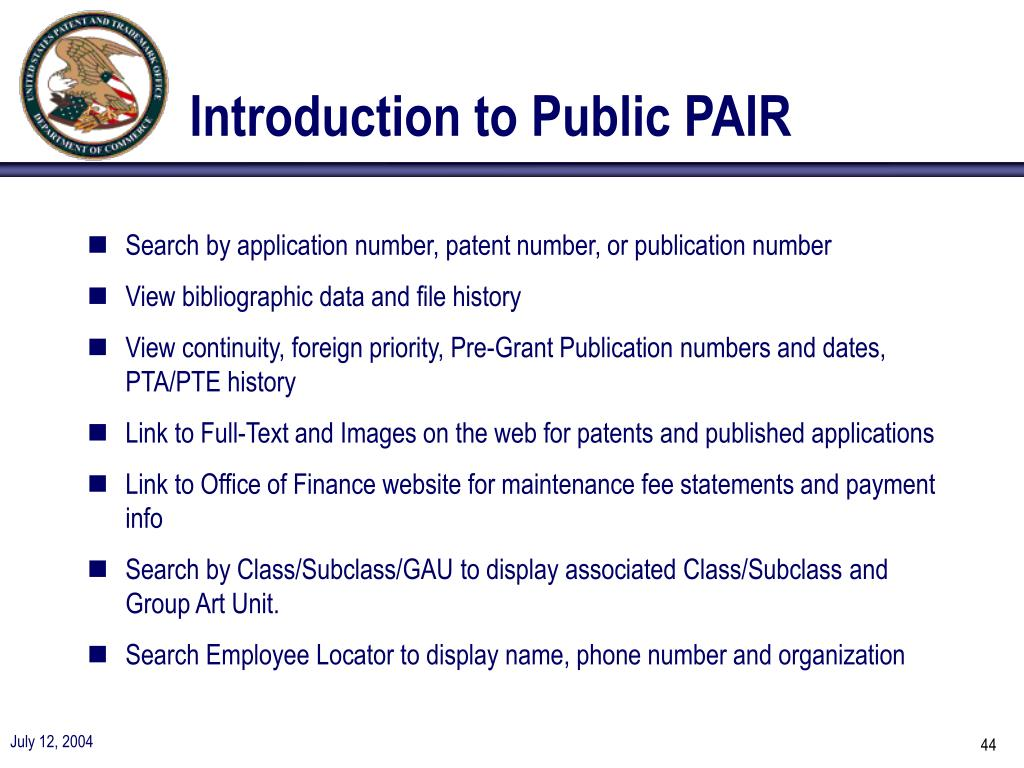 Introduction to Public PAIR