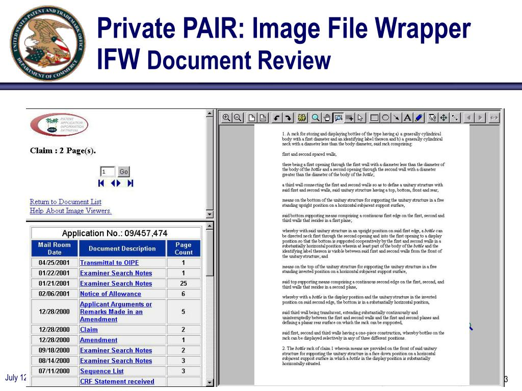 Private PAIR: Image File Wrapper IFW