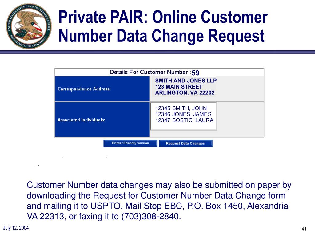Private PAIR: Online Customer Number Data Change Request