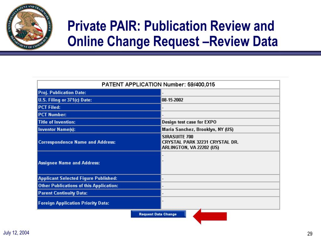 Private PAIR: Publication Review and Online Change Request –Review Data