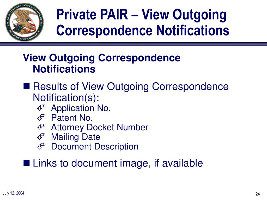 Private PAIR – View Outgoing Correspondence Notifications