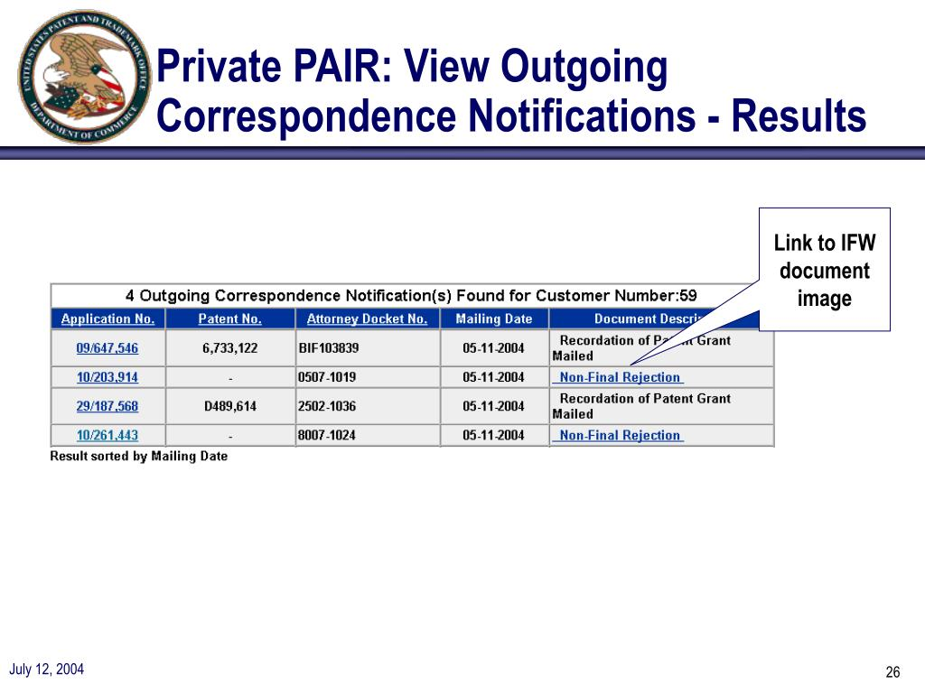 Private PAIR: View Outgoing Correspondence Notifications - Results