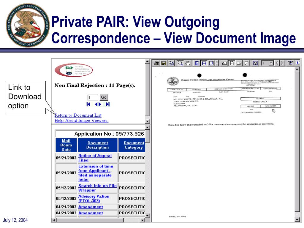 Private PAIR: View Outgoing Correspondence – View Document Image