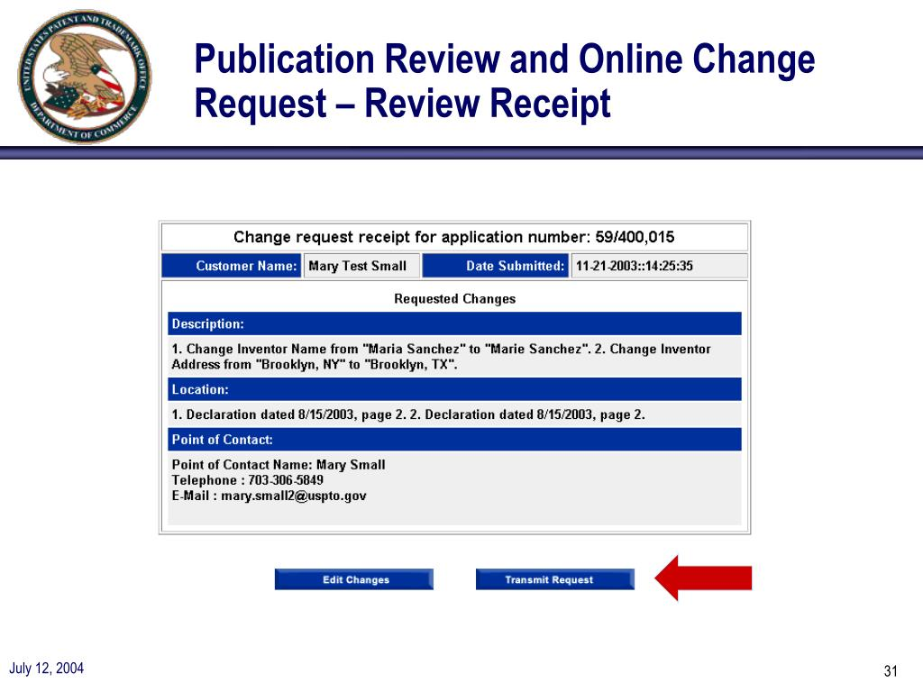 Publication Review and Online Change Request – Review Receipt