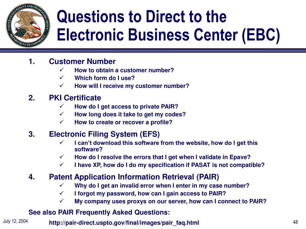 Questions to Direct to the Electronic Business Center (EBC)
