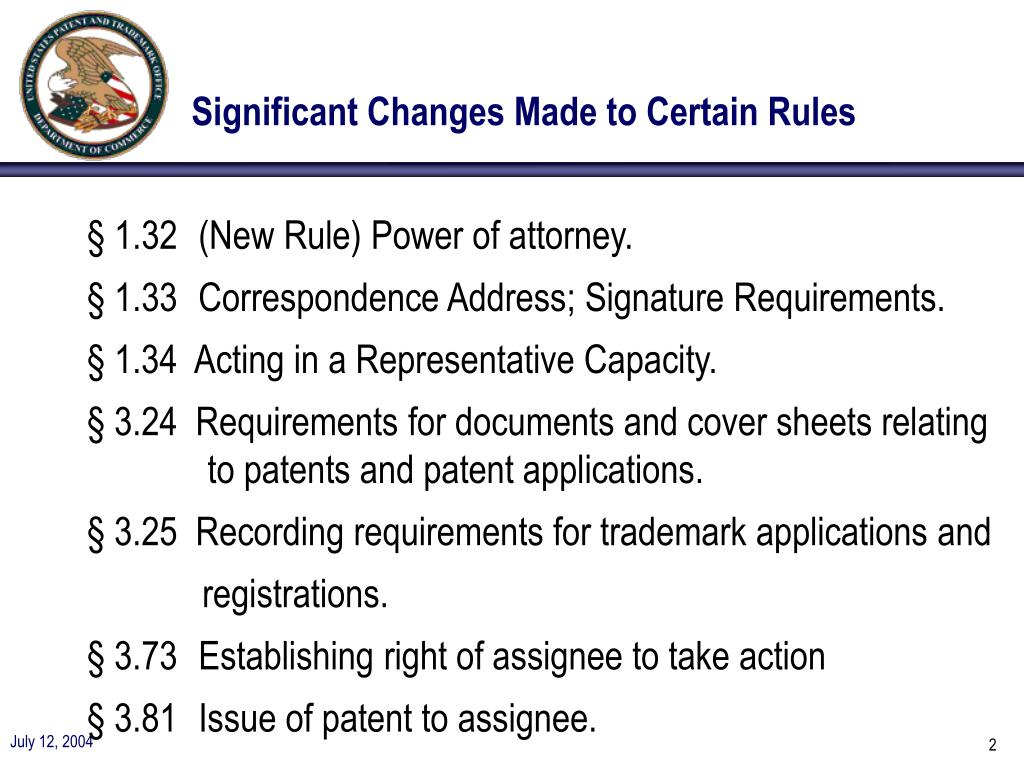 Significant Changes Made to Certain Rules