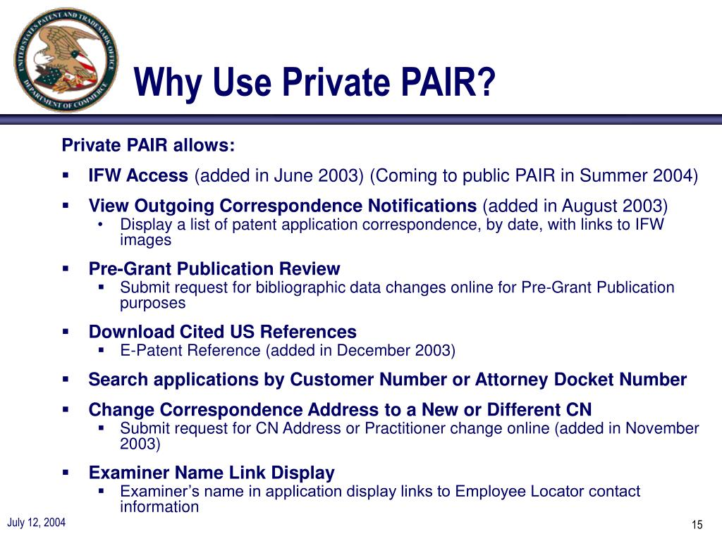 Why Use Private PAIR?