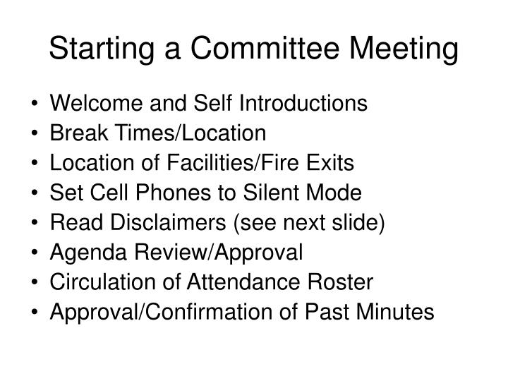 Starting a committee meeting