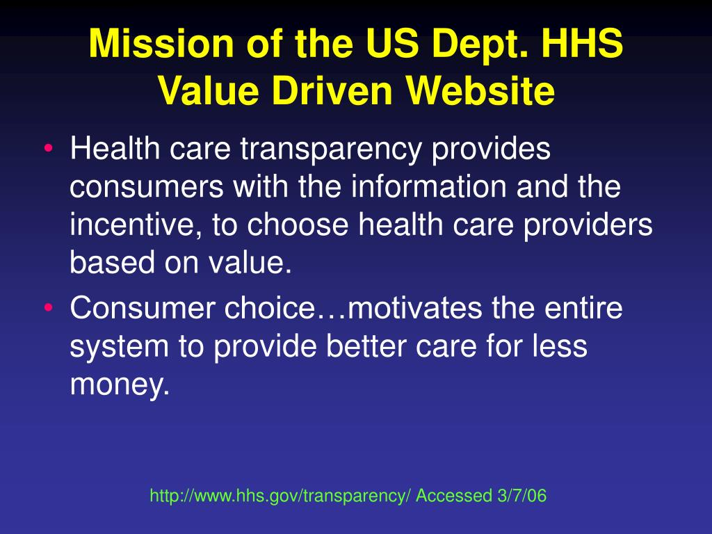 Mission of the US Dept. HHS Value Driven Website