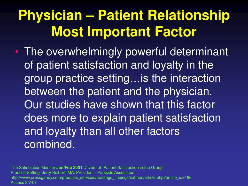 Physician – Patient Relationship Most Important Factor