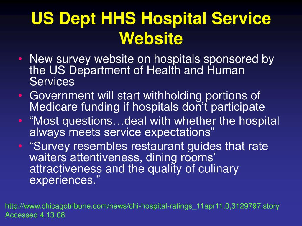 US Dept HHS Hospital Service Website