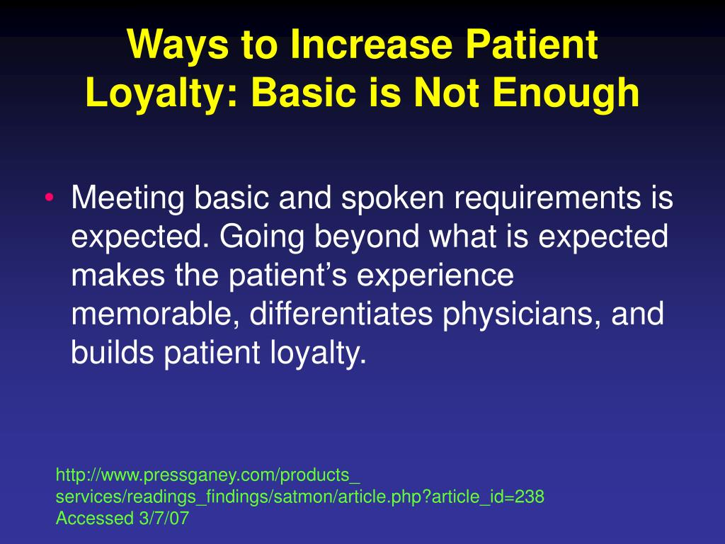 Ways to Increase Patient Loyalty: Basic is Not Enough
